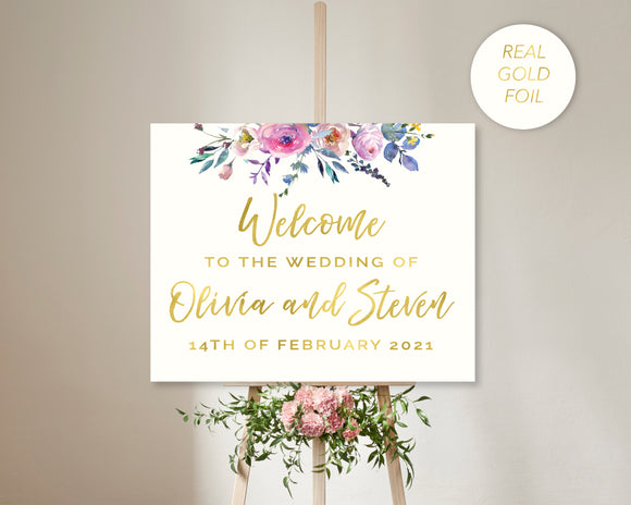 Wedding Welcome Sign Gold Foil
