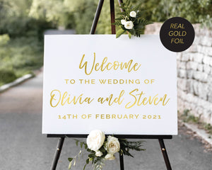 """Olivia"" Welcome Sign with Gold Foiling printed on 5mm Foam Board"