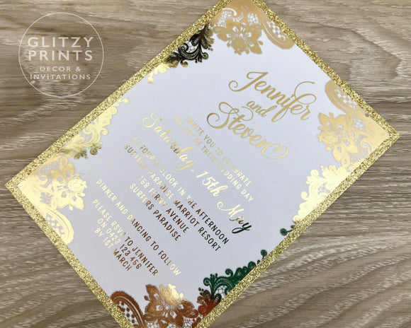 Gold Foil Glitter Invitation with lace design