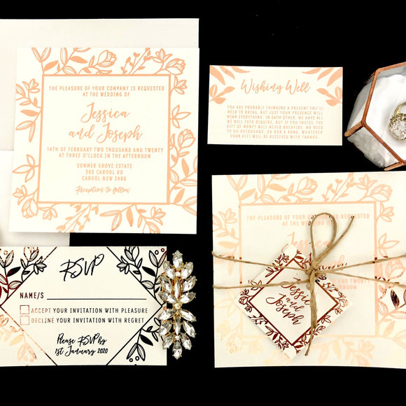 Rustic Leaf Rose Gold Foil Invitation