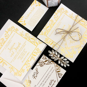Rustic Leaf Gold Foil Invitation