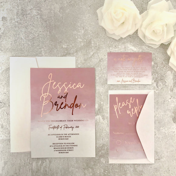Rose Gold Foil Wedding Invitation in Dusty Pink Watercolour