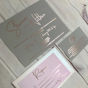 """Shannon"" Grey and Pink Foil Wedding Invitation Suite"