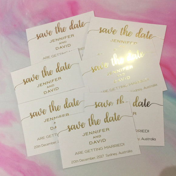 Save the Date Invitation, Gold Foil Invitation, Wedding Invitation, Printed Wedding Invitations