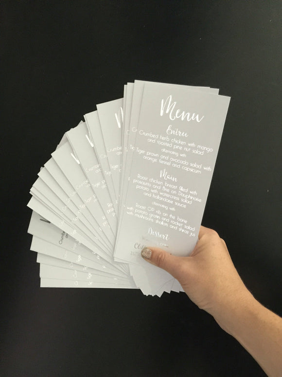 Wedding Menu Cards in Real Silver Foil