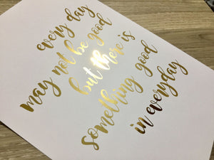 Real gold foil print / wall art gold foil print quote print/ White & Gold Print / Modern home decor