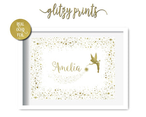 Tinkerbel Fairy Personalised Gold Foil Print