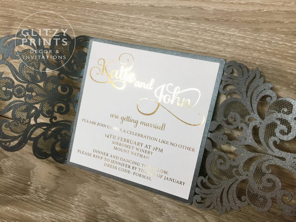 Gold Foil Wedding Invitation with Black Laser Cut Envelope
