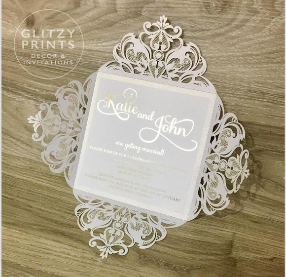 Gold Foil Laser Cut Wedding Invitation