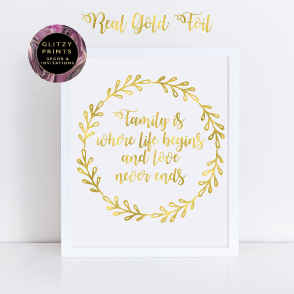Real gold foil print, Family Print