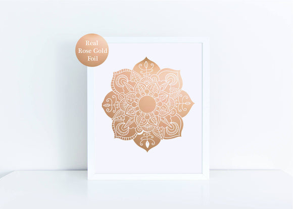 Real rose gold mandala foil print