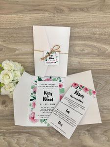 Rustic Pocket Fold Wedding Invitation