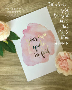 Personalised Watercolour Foil Print