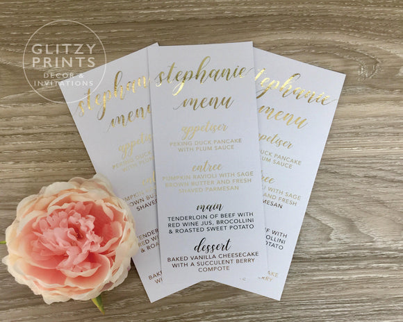 Wedding Menu Place Cards in Real Gold Foil