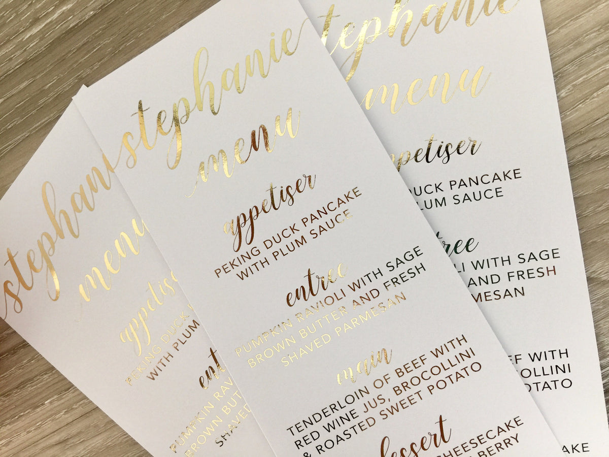 wedding menu place cards in real gold foil  glitzy prints