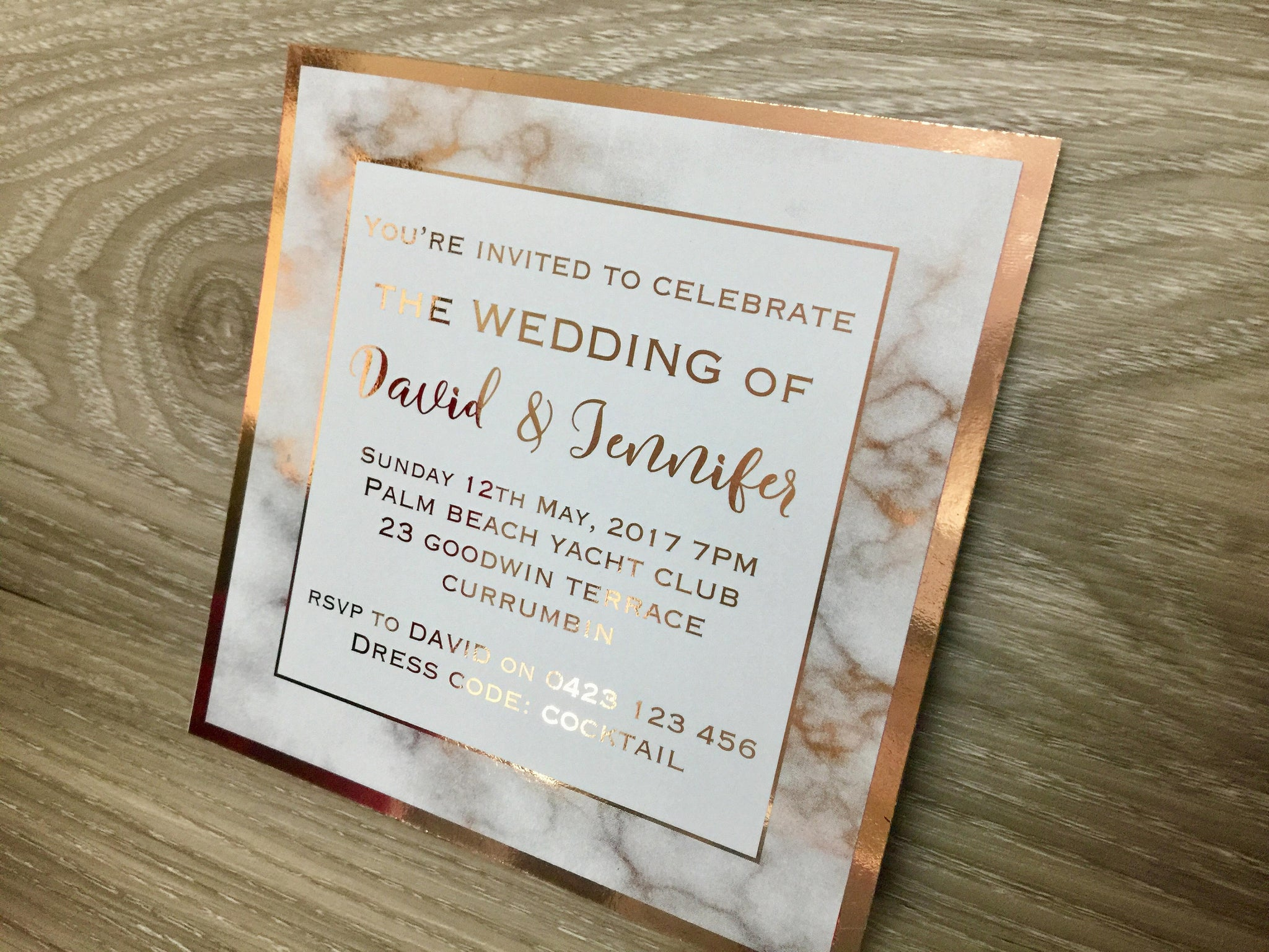 Rose Gold Foil Marble Printed Wedding Invitation – Glitzy Prints