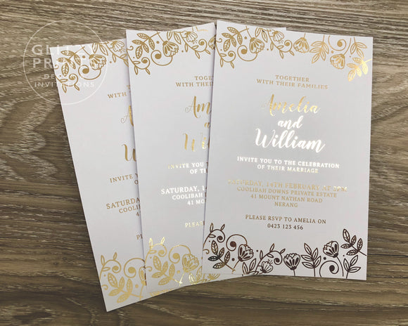Flower Foil Wedding Invitation