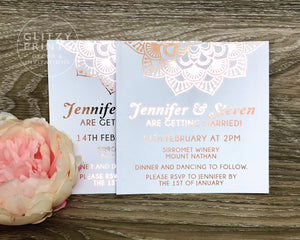 Wedding Invitation, Rose Gold Foil Invitation, Mandala Invitation,  Boho Wedding,  18th, 21st, 30th, 40th, Birthday Invitations, Christening