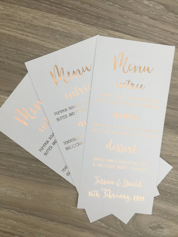 Rose Gold Foil Menus