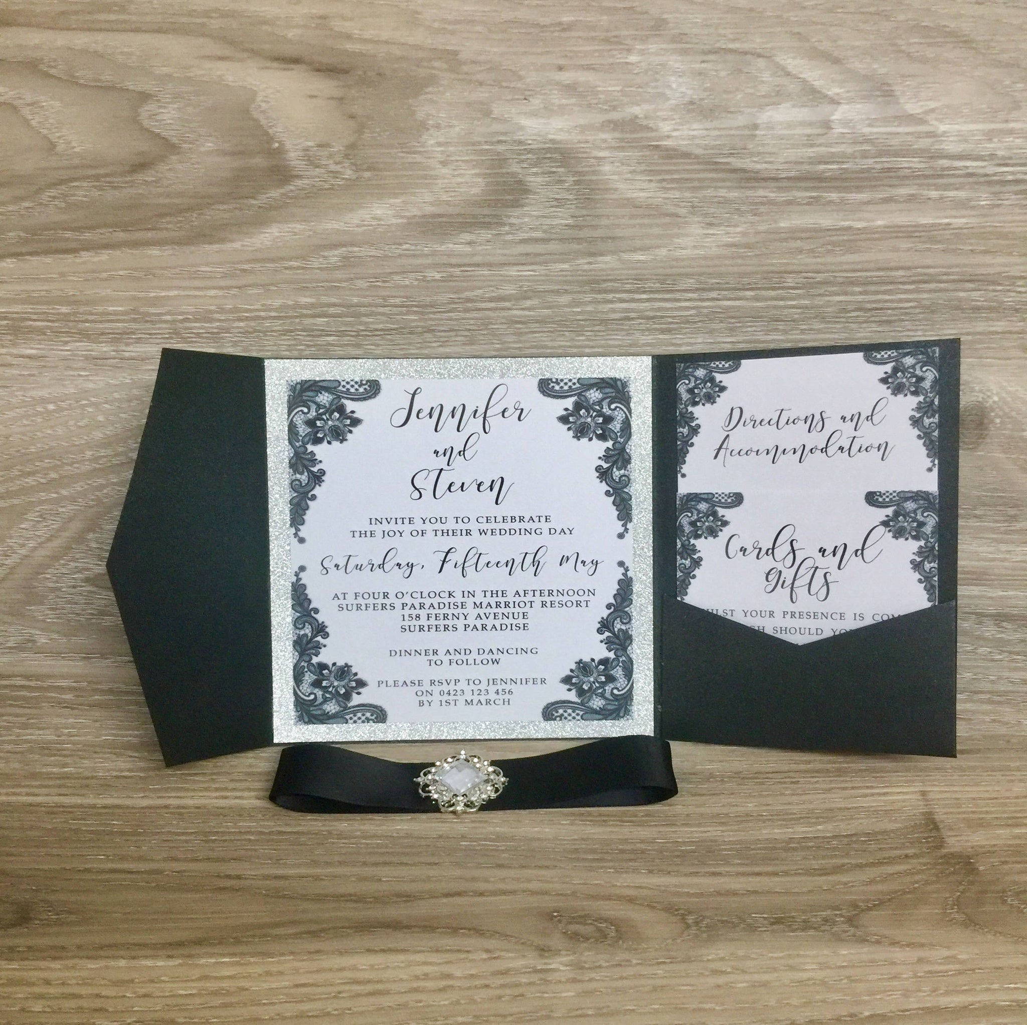 Wedding Invitation, Pocket Fold Invitation, Glitter Invitation ...