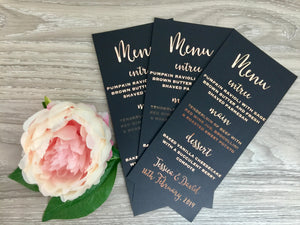 Black and Gold Wedding Menu Cards