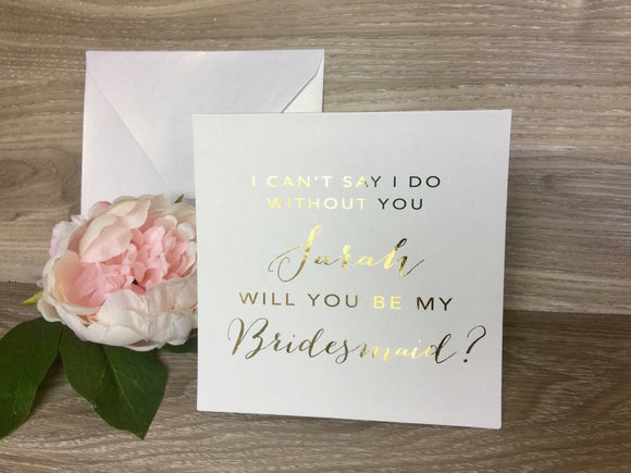 Bridesmaid Proposal Card in Gold Foil