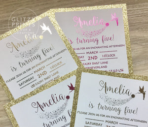 Fairy Invitation with gold glitter and gold or pink foil
