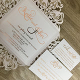 Rose Gold Foil Laser Cut Wedding Invitation