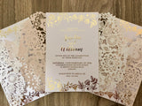 Butterfly Laser Cut Gold Foil Wedding Invitation