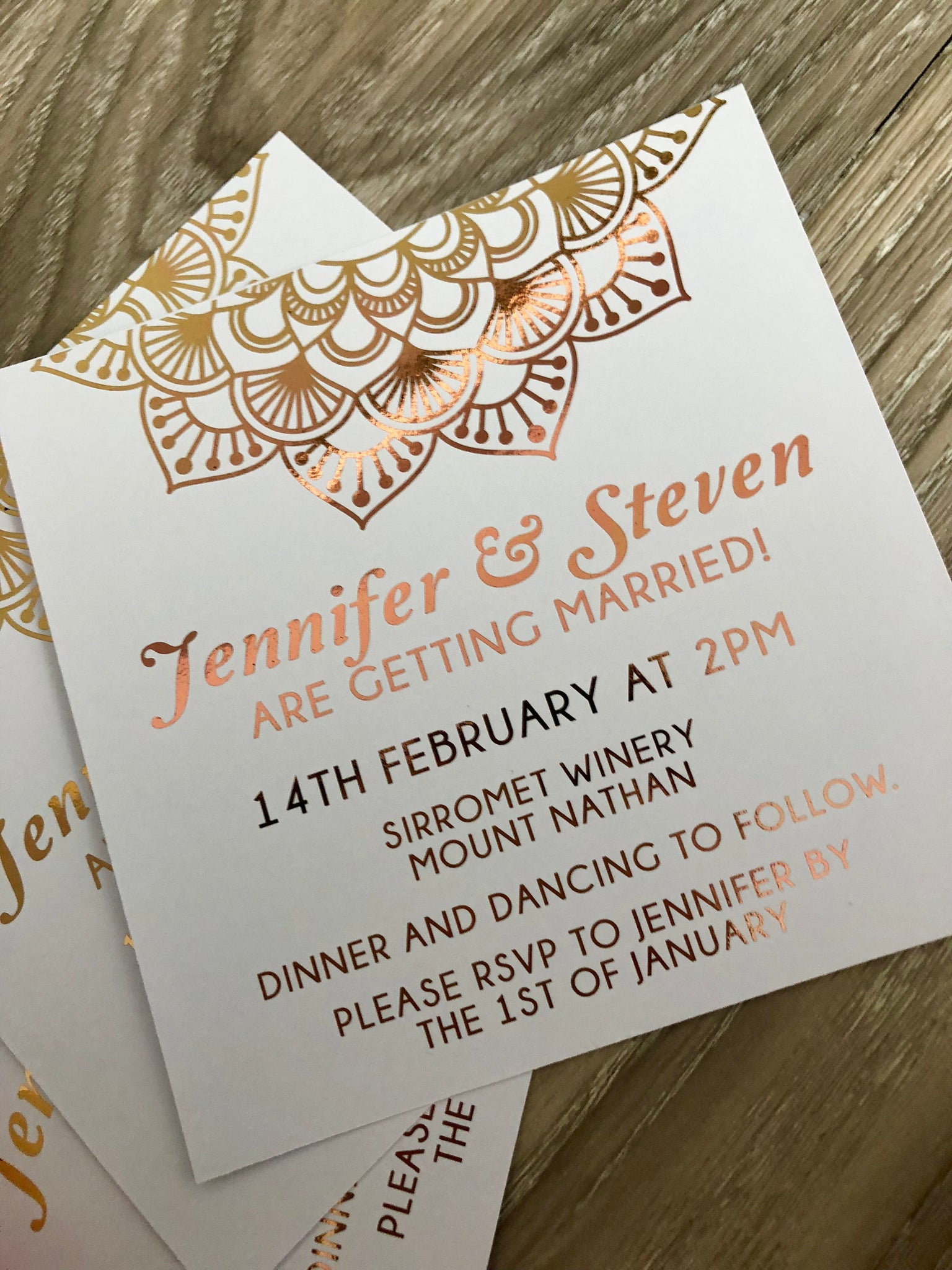 Wedding Invitation Rose Gold Foil Mandala Boho 18th