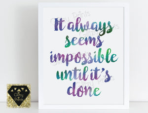 Watercolour Print / Inspirational Quote print / Motivational print / Typography Print / Purple Decor / Office Print