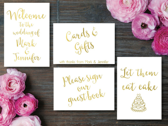 Personalised Gold Foil Wedding Signs