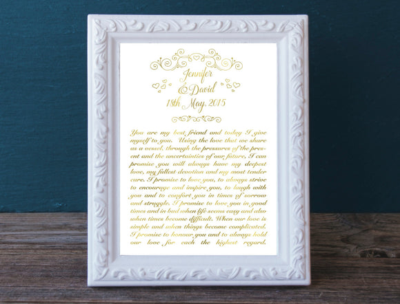 Wedding Vow Print / Wedding Print in Real Gold Foil / First Anniversary Gift / Wedding Reception decoration / Valentine's Day Gift
