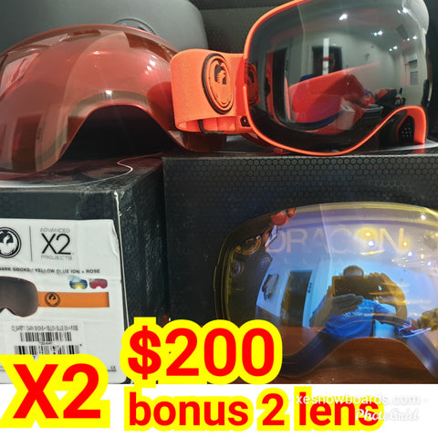Dragons X2 with bonus lens, dragon goggles - ORANGE series - BONUS 2 LENS