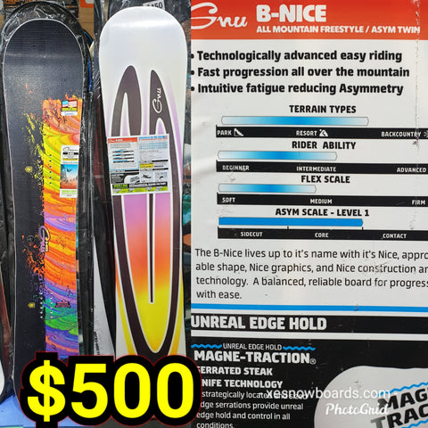 GNU B-Nice ladies snowboard  145CM OR 148cm OR 151CM 2020 model