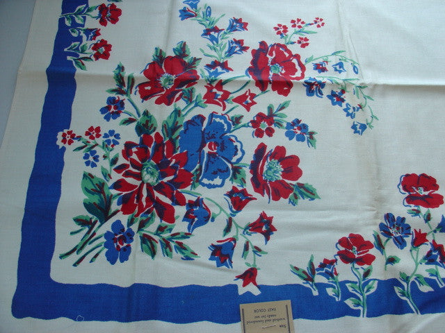 Early Primary Flowers on Blue Floral MWT Vintage Printed Tablecloth (51 X 50)