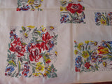 Primary Poppies Red Blue Floral NWT Vintage Printed Tablecloth (54 X 54 per label)