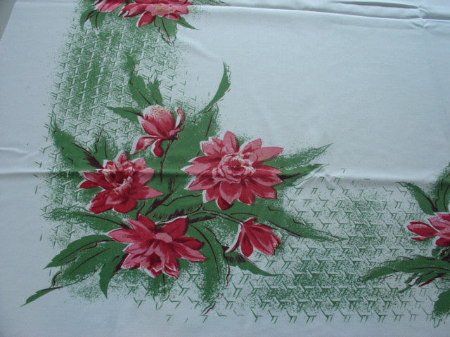 Pink Green CAHP Cactus Flower Floral Vintage Printed Tablecloth (45 X 40)