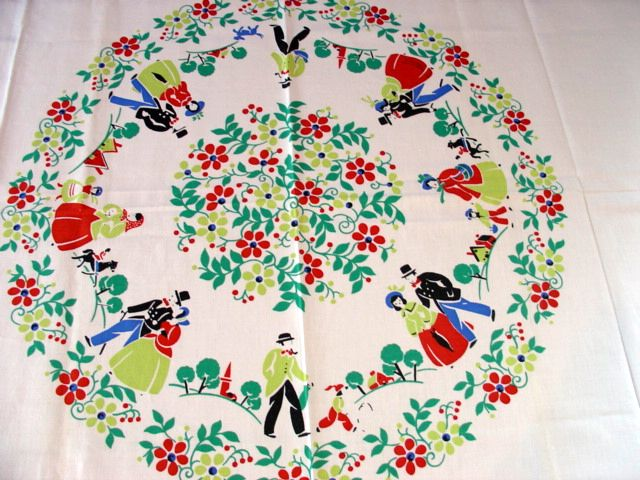 Rare Leacock Whimsical People Dogs NWT Novelty Vintage Printed Tablecloth (50 X 50 per label)