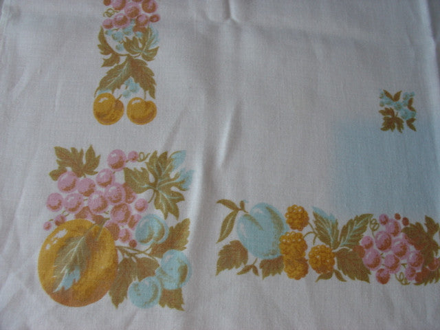 Pastel Pink Blue Yellow Fruit Linen Vintage Printed Tablecloth (64 X 51)