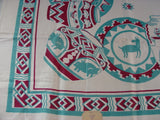 Unusual Mexican Pottery MWT Novelty Vintage Printed Tablecloth (51 X 51 unmeasured)
