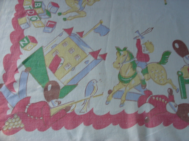 HTF Childrens Nursery Toys Novelty Vintage Printed Tablecloth (51 X 50)