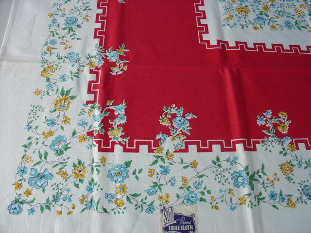 Red, Blue, Yellow Floral MWT Vintage Printed Tablecloth (52 X 52 per label)