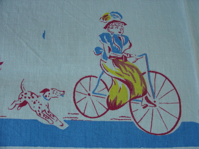 HTF Victorian Sports Ladies Novelty Vintage Printed Tablecloth (50 X 46)