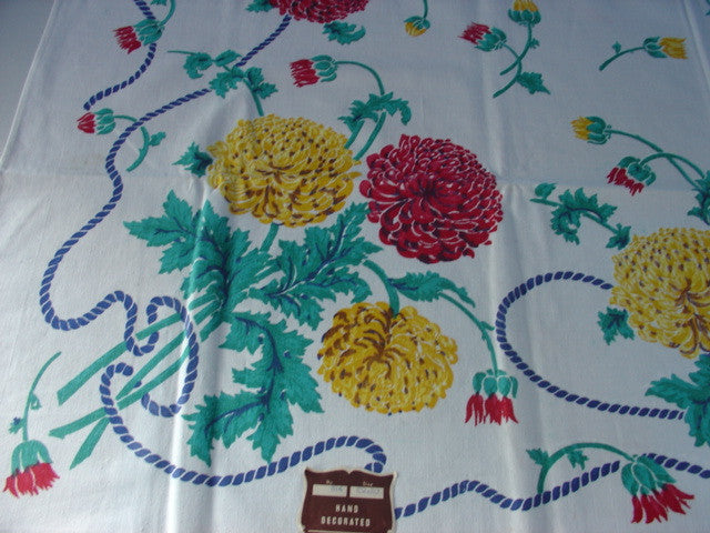 Primary Red Yellow Chrysanthemum Ropes Floral MWT Vintage Printed Tablecloth (52 X 50)
