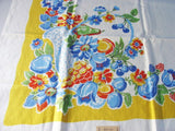 Best Blue Fruit Basket on Yellow MWT Vintage Printed Tablecloth (51 X 50)