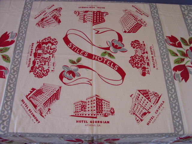 Georgia Florida Stiles Hotels Souvenir Advertising Vintage Printed Tablecloth (53 X 49)