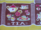 HTF Breakfast Lunch Dinner Meal Novelty Food Vintage Printed Tablecloth (47 X 45)