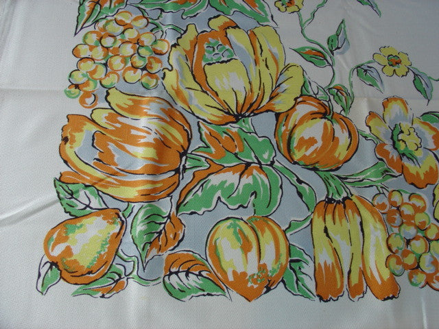 Orange Green Fruit on Blue NWT Napkins Vintage Printed Tablecloth (53 X 53 per label)