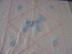 Pink Blue Scotty Vintage Chenille Baby Coverlet (35 X 27)